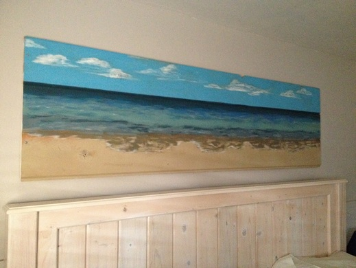 Beach Painting on Reclaimed Wood